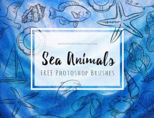 手绘卡哇伊海洋元素图案海鱼、海星、海鸥、海螺、海马、龙虾、贝壳、螃蟹、海豚、沙滩拖鞋、帆船、救生圈等PS笔刷下载