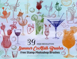 39种夏季鸡尾酒杯、沙滩饮料图案Photoshop笔刷素材下载