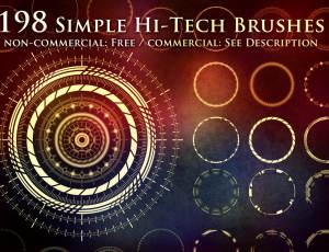 198高科技元素花纹图案Photoshop笔刷素材下载