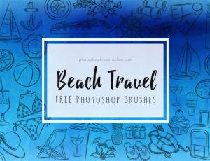 夏季海滩、沙滩元素帆船、船锚、指南针、游轮、椰汁、太阳伞、旅行包、沙桶、纸船、望远镜、灯塔、棒棒糖、拖鞋、相机等PS笔刷