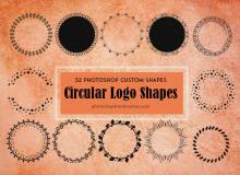 32种圆形花环图案、罗盘式花纹图案Photoshop自定义形状素材 .csh 下载