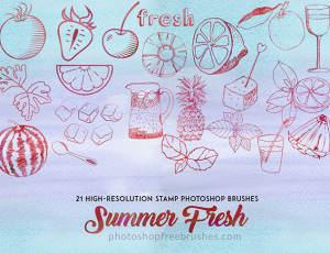21种清爽夏日主题柠檬、草莓、番茄、樱桃、酒杯、饮料、西瓜、菠萝、冰块、树叶等手绘PS笔刷素材