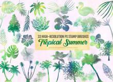33种树木、植物叶子、鲜花花朵图案Photoshop笔刷素材下载