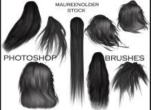 女士长发发型、头发造型、假发素材PS笔刷下载