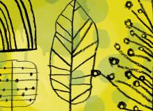可爱的童趣树叶造型涂鸦笔迹、幼稚叶子涂鸦Photoshop笔刷下载