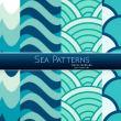 4种卡通水色、海洋元素、海浪效果Photoshop填充图案底纹素材.pat 免费下载