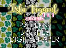 热带植物树叶、叶子图形Photoshop填充图案底纹素材.pat 免费下载