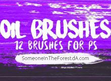12种油漆纹理效果Photoshop笔刷素材下载