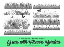 12种野草鲜花背景图案Photoshop草坪效果笔刷