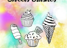 可爱卡通纸杯蛋糕、冰淇淋甜筒图形素材PS笔刷免费下载