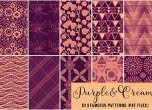 10种神秘复古式紫色调花纹艺术Photoshop自定义填充素材笔刷下载