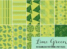 10种夏日清凉绿色系列背景柠檬、条纹图案填充Photoshop底纹素材.pat