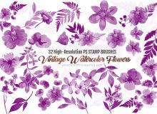 32水彩风格的鲜花花朵植物印花图案Photoshop笔刷素材下载
