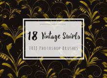 18种复古式漩涡花纹图形Photoshop笔刷下载