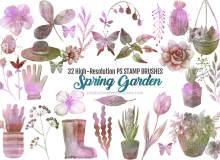 32种高清水彩花园主题装饰图案Photoshop笔刷素材下载