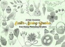 44种高清水彩兔子、小鸟、鲜花图案、鸟窝、彩蛋等Photoshop装饰美图笔刷