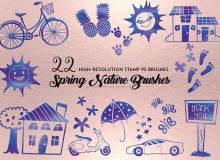22种生活元素图案、可爱图形装扮Photoshop笔刷素材下载