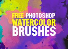 免费10个高清水彩画笔Photoshop笔刷素材打包下载