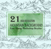 21手绘高大山脉图形效果、大山、山川Photoshop笔刷素材下载