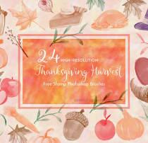 24种水彩绘画食物、帽子、水果等图形Photoshop笔刷素材下载