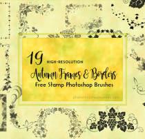 19种漂亮的植物艺术藤蔓边框、植物花纹装饰图案Photoshop印花笔刷下载