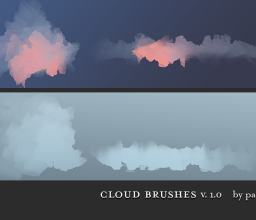 手绘云朵式画笔PS笔刷素材下载