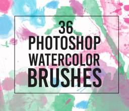 36种缤纷水彩涂抹、滴溅效果Photoshop水分笔刷素材下载