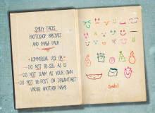 超级呆萌涂鸦表情图案、童趣幼稚的涂鸦PS装可爱笔刷
