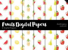 可爱的水彩水果背景、西瓜、柠檬、菠萝、草莓、梨、苹果Photoshop填充素材(JPG图片格式)