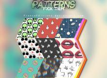 外星人、手指、宇宙、女人、红唇、甜甜圈、螺丝等图案填充Photoshop底纹素材.pat