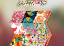 猫咪、西柚、水彩鲜花、七彩印花、熊熊等图案填充Photoshop底纹素材.pat