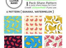 6种可爱卡通香蕉、西瓜图案Photoshop填充图案底纹素材(JPG图片格式下载)