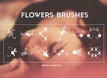 小清新手绘花朵图案、可爱印花花纹PS笔刷下载