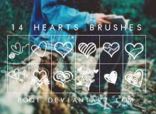 14种可爱的涂鸦爱心、心形图案PS情人节恋爱笔刷