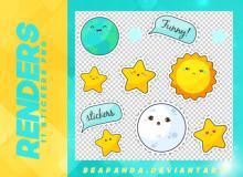 可爱呆萌太阳、地球、月球、星星等图案之韩国笔刷风格下载(PNG免扣图透明格式)