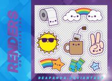 可爱卡通风格的太阳、卫生卷纸、彩虹、胜利手势、茶杯等韩国笔刷风格下载(PNG免扣图透明格式)