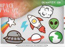 8种可爱卡通火星人太空元素、飞船、火箭、月球、地球等韩国笔刷风格下载(PNG免扣图透明格式)