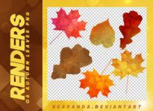 漂亮的七彩树叶、油彩梦幻枫叶落叶韩国笔刷风格下载(PNG免扣图透明格式)