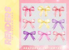 9种漂亮的卡通风格蝴蝶结图案韩国笔刷风格下载(PNG免扣图透明格式)