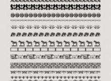 搞怪动物造型和经典印花图案分割线PS笔刷下载 #.2