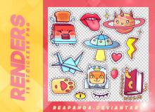 15种可爱童趣卡通贴纸素材韩国笔刷风格下载(PNG免扣图透明格式)
