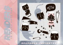 10种可爱呆萌黑猫酱卡通图形韩国笔刷风格下载(PNG免扣图透明格式)