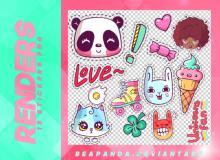 15种超萌的童趣卡通贴纸素材韩国笔刷风格下载(PNG免扣图透明格式)