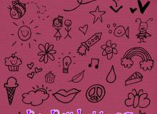 可爱幼稚涂鸦、手绘少女少男不老心图案Photoshop美图笔刷素材下载