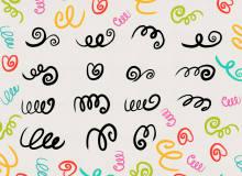 幼稚条线涂抹效果PS可爱装饰笔刷