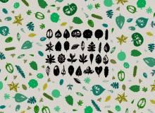 版刻、复刻式各种树叶造型图案PS笔刷下载