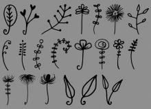 手绘可爱植物花花草草图案Photoshop笔刷下载