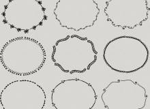 手绘可爱风格的花纹花圈、花环图案PS笔刷下载