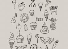 可爱童趣手绘纸杯蛋糕、冰淇淋、咖啡杯、西瓜、樱桃、披萨、薯条、糖果等PS童趣美图笔刷