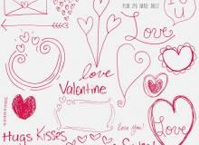 童趣涂鸦爱心、情人节热恋装饰、情侣美图PS笔刷素材下载